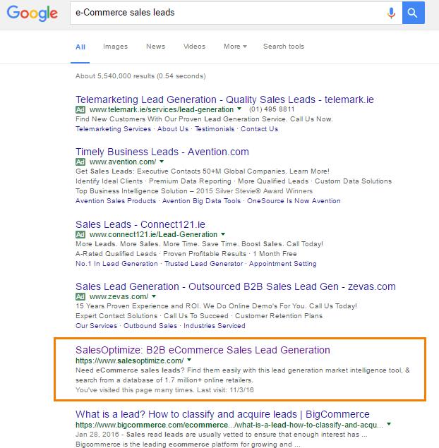TAMI eCommerce Sales Leads Google